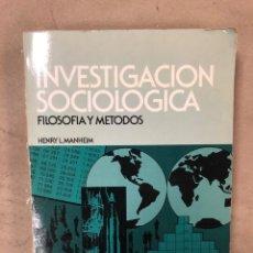 Libros de segunda mano: INVESTIGACIÓN SOCIOLÓGICA (FILOSOFÍA Y MÉTODOS). HENRY L. MANHEIM: EDICIONES CEAC 1982. 336 PÁGINAS.. Lote 171461117