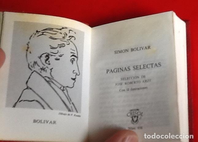 Libros de segunda mano: LIBRO EN MINIATURA. CRISOL. PAGINAS SELECTAS. SIMON BOLIVAR. 1975. ENVIO INCLUIDO. - Foto 2 - 171607250