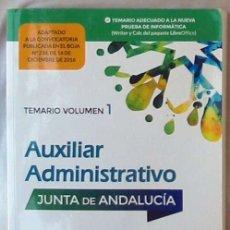 Libros de segunda mano: TEMARIO VOL. 3 - AUXILIAR ADMINISTRATIVO JUNTA DE ANDALUCÍA - MAD 2016 -VER INDICE. Lote 172131032