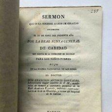 Libros de segunda mano: SERMÓN QUE EN LA SOLEMNE ACCIÓN DE GRACIAS...MADRID IBARRA 1816. Lote 172175932