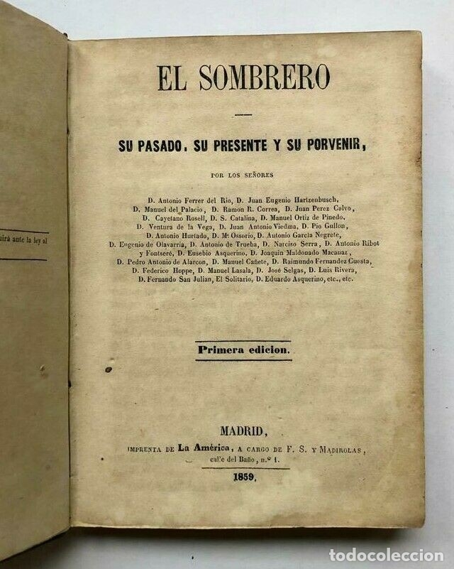 EL SOMBRERO - SU PASADO, SU PRESENTE Y SU PORVENIR - MADRID 1859 - 1ERA EDICIÓN (Libros de Segunda Mano (posteriores a 1936) - Literatura - Otros)