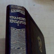 Libros de segunda mano: ENSAYOS TOMO 1 MIGUEL DE UNAMUNO AGUILAR AÑO 1966. Lote 172295617