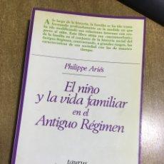 Libros de segunda mano: PHILLIPPE ARIÉS - EL NIÑO Y LA VIDA FAMILIAR EN EL ANTIGUO RÉGIMEN - TAURUS - RARO Y AGOTADO. Lote 172471258