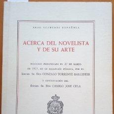 Libros de segunda mano: ACERCA DEL NOVELISTA Y DE SU ARTE. - TORRENTE BALLESTER, SR. DON GONZALO.. Lote 173724928