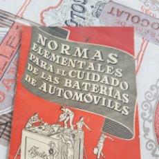 Libros de segunda mano: ANTIGUO MANUAL PARA EL CUIDADO DE BATERIAS TUDOR. Lote 174466689
