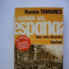 Libros de segunda mano: ¿ADONDES VAS ESPAÑA? QUO VADIS, HISPANIA. Lote 175091584