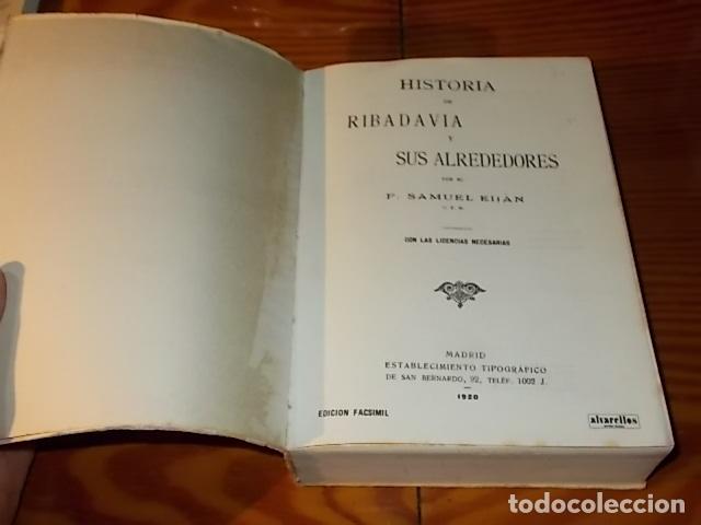 Libros de segunda mano: HISTORIA DE RIBADAVIA Y SUS ALREDEDORES . P. SAMUEL EIJÁN . EDICIÓN FACSÍMIL. 1981 . LUGO - Foto 3 - 218846118