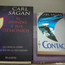 Libros de segunda mano: LOTE 2 LIBROS CARL SAGAN: EL MUNDO Y SUS DEMONIOS Y CONTACTO. Lote 175620155
