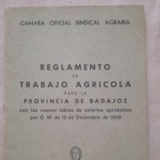 Libros de segunda mano: REGLAMENTO DE TRABAJO AGRÍCOLA.. Lote 175927240