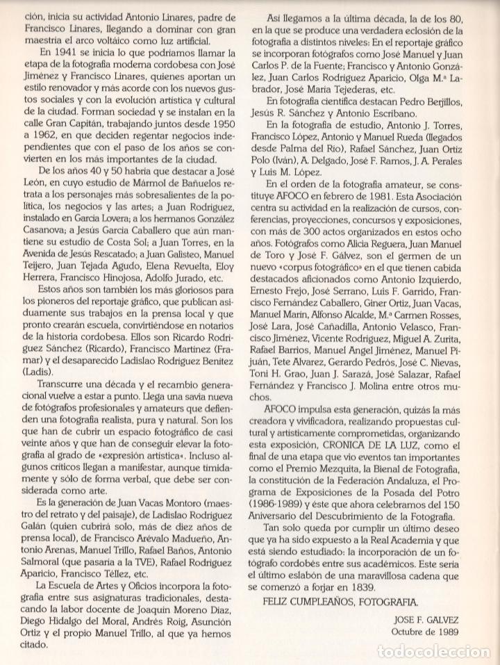 Libros de segunda mano: CRÓNICA DE LA LUZ EXP 41 FOTÓGRAFOS CONTEMPORÁNEOS CÓRDOBA 150 ANIVERSARIO DESCUBRIMIENTO FOTOGRAFÍA - Foto 26 - 176408875