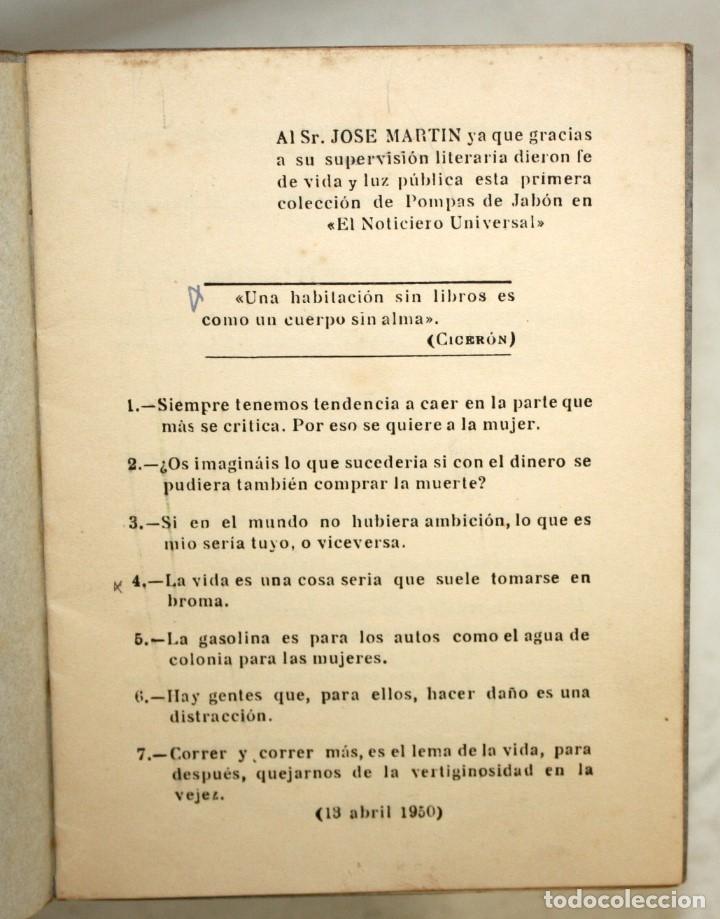 Libros de segunda mano: POMPAS DE JABÓN. JUAN VILADOMS RAVENTÓS. BARCELONA 1957 - Foto 3 - 176893883