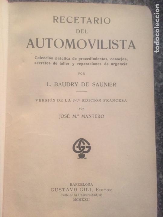Libros de segunda mano: Recetario del automovilista - Foto 4 - 177490353