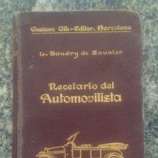 Libros de segunda mano: RECETARIO DEL AUTOMOVILISTA. Lote 177490353