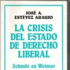Libros de segunda mano: LA CRISIS DEL ESTADO DE DERECHO LIBERAL. JOSÉ A. ESTÉVEZ ARAUJO. Lote 177761608