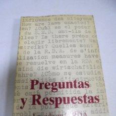 Livres d'occasion: PREGUNTAS Y RESPUESTAS. LA VIDA EN LA RDA. PANORAMA DDR. 1981. Lote 177858359