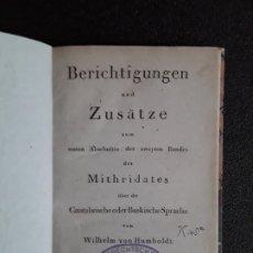 Libros de segunda mano: HUMBOLDT. ESTUDIO DE LA LENGUA VASCA. EUSKERA. OBRA FAMOSA Y SERIA.. Lote 178178780
