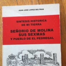 Libros de segunda mano: SEÑORIO DE MOLINA SUS SEXMAS Y PUEBLO DE EL PEDREGAL, JUAN JOSE LOPEZ BELTRAN. Lote 178662962