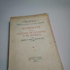 Libros de segunda mano: MEMORIAS DE LA CIUDAD DE SOLSONA Y SU IGLESIA. TOMO I.-DOMINGO COSTA Y BAFARULL 1959. Lote 178836710