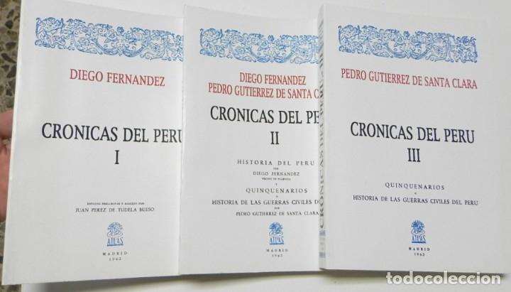 CRÓNICAS DEL PERÚ (3 TOMOS) - DIEGO FERNÁNDEZ, PEDRO GUTIÉRREZ DE SANTA CLARA (Libros de Segunda Mano - Historia - Otros)
