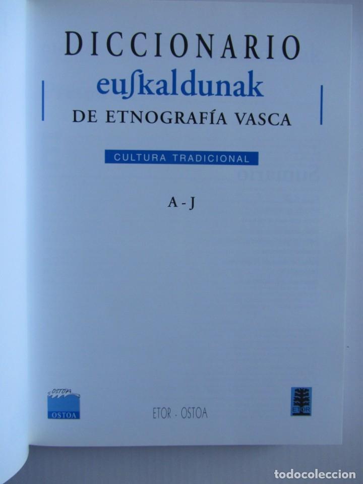 Libros de segunda mano: Diccionario de etnografia vasca. Cultura tradiiconal. Euskaldunak. Etor-Ostoa 1999 2 tomos. Completa - Foto 7 - 178965657