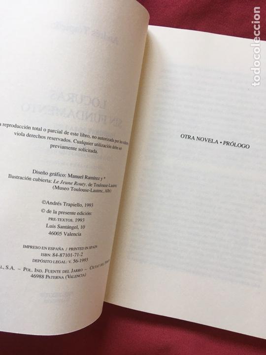 Libros de segunda mano: Locuras sin fundamento, Andrés Trapiello, Primera edición. - Foto 2 - 179120693