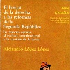Libros de segunda mano: EL BOICOT DE LA DERECHA A LAS REFORMAS DE LA SEGUNDA REPÚBLICA / ALEJANDRO LÓPEZ. Lote 179150026