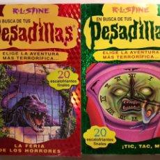 Libros de segunda mano: PESADILLAS 22 LIBROS DIFERENTES - EN BUSCA DE TUS 1 Y 2 RL STINE EL PERIODICO EDICIONES B 1996 1998. Lote 179205952