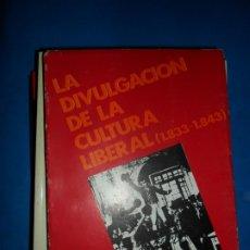 Libros de segunda mano: LA DIVULGACIÓN DE LA CULTURA LIBERAL (1833-1843), JESÚS LONGARES ALONSO, ED. ESCUDERO, 1979. Lote 179528693