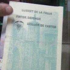 Libros de segunda mano: LLIBRET DE LA FALLA PINTOR DOMINGO, GUILLEM DE CASTRO ANY 2003. L.14508-548. Lote 180172406