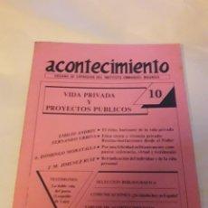 Libros de segunda mano: ACONTECIMIENTO NR 10. ÓRGANO DE EXPRESIÓN DEL INSTITUTO EMMANUEL MOUNIER. ENERO 1988. Lote 180264128