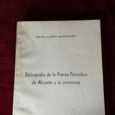Libros de segunda mano: 1958 BIBLIOGRAFÍA DE LA PRENSA PERIÓDICA DE ALICANTE Y SU PROVINCIA - EDICIÓN NUMERADA HISTORIA . Lote 180478250