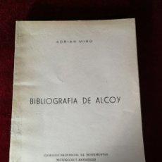Libros de segunda mano: 1958 BIBLIOGRAFÍA DE ALCOY - EDICIÓN NUMERADA HISTORIA ALICANTE. Lote 180478380