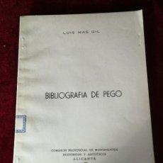 Libros de segunda mano: 1958 BIBLIOGRAFÍA DE PEGO - EDICIÓN NUMERADA HISTORIA ALICANTE. Lote 180478692
