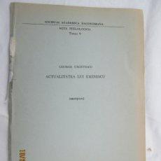 Libros de segunda mano: SOCIETAS ACADEMICA DACOROMANA - ACTA PHILOLOGICA -TOMUS V - ROMA 1966. . Lote 180888516