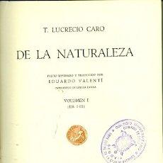 Libros de segunda mano: DE LA NATURALEZA. VOLUMEN 1. Lote 180890992