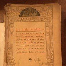 """Libros de segunda mano: REVISTA """"LA BIBLIOFILIA DEL ARTI """" DE LEO S. OLSCHKI . FIRENZE . AÑOS DESDE 1909 HASTA 1915. Lote 182053148"""