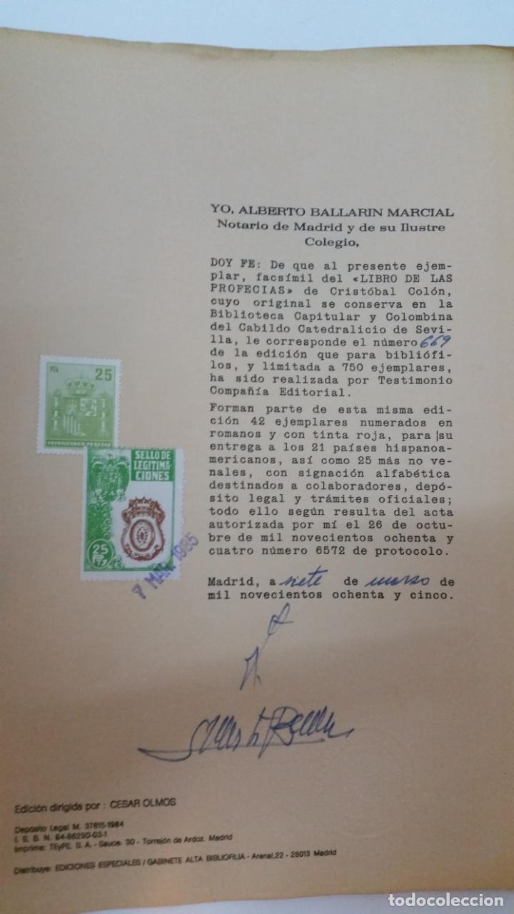 Libros de segunda mano: 1984 - COLÓN - LIBRO DE LAS PROFECÍAS - Facsímil del manuscrito de la Biblioteca Capitular Colombina - Foto 10 - 182628481