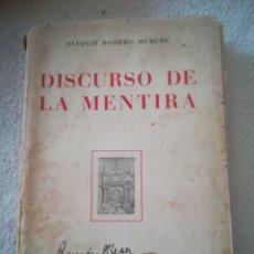 Libros de segunda mano: DISCURSO DE LA MENTIRA. JOAQUIN ROMERO MURUBE. REVISTA OCCIDENTE, MADRID. 1943. RUSTICA. 14 X 20CM. Lote 182638141