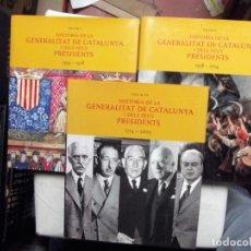 Libros de segunda mano: HISTORIA DE LA GENERALITAT DE CATALUNYA I DELS SEUS PRESIDENTS ( 1359 - 2003 ). Lote 183313117