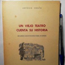 Libros de segunda mano: UN VIEJO TEATRO CUENTA SU HISTORIA (RECUERDOS DEL ROMEA, DE MURCIA) ANTONIO CRESPO 1969. Lote 183588241