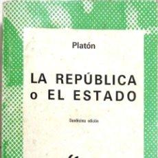 Libros de segunda mano: LA REPUBLICA O EL ESTADO POR PLATON . COLECCION AUSTRAL, ESPASA-CALPE.. Lote 183880471