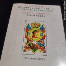 Libros de segunda mano: FRANCISCO RICO ALAN DEYERMOND EDAD MEDIA. Lote 183935767