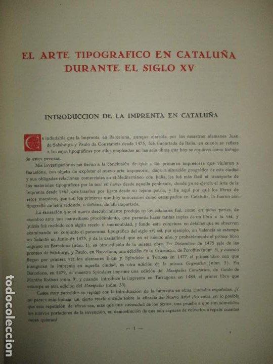 Libros de segunda mano: EL ARTE TIPOGRÁFICO EN CATALUÑA DURANTE EL SIGLO XV. VINDEL, Francisco. 1945. - Foto 3 - 184553056