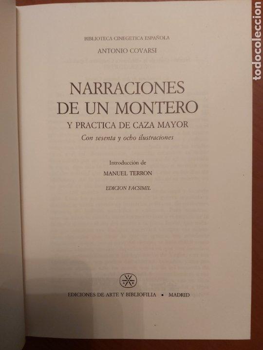 Libros de segunda mano: NARRACIONES DE UN MONTERO. ANTONIO COVARSI 1985. EDICIÓN FACSIMIL - Foto 2 - 186449088