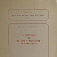 Libros de segunda mano: LA INDUSTRIA DE ESTERAS Y ALFOMBRAS EN CREVILLENTE - VICENTE GONZALVEZ PÉREZ. Lote 187110803