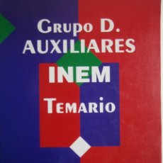 Libros de segunda mano: AUXILIARES INEM TEMARIO GRUPO D CENTRO DE ESTUDIOS ADAMS. Lote 187519700