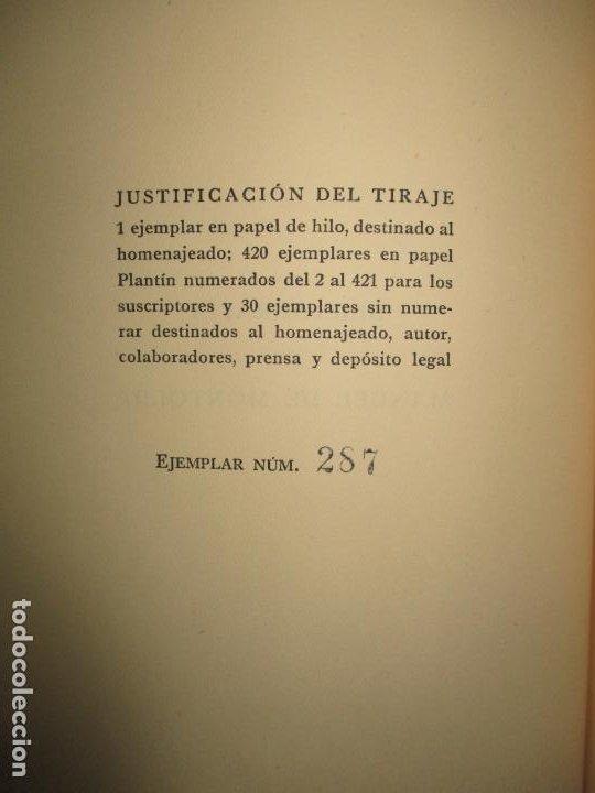 Libros de segunda mano: BIBLIOGRAFÍA DE MANUEL DE MONTOLIU. Homenaje en sus bodas de oro con las letras. TORRES BRULL, F. - Foto 3 - 123253399
