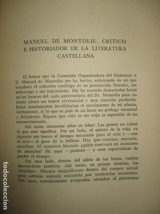 Libros de segunda mano: BIBLIOGRAFÍA DE MANUEL DE MONTOLIU. Homenaje en sus bodas de oro con las letras. TORRES BRULL, F. - Foto 4 - 123253399