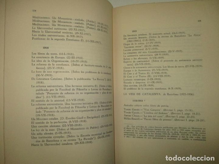 Libros de segunda mano: BIBLIOGRAFÍA DE MANUEL DE MONTOLIU. Homenaje en sus bodas de oro con las letras. TORRES BRULL, F. - Foto 5 - 123253399