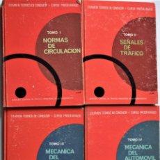 Libros de segunda mano: LOTE 4 TOMOS EXAMEN TEÓRICO DE CONDUCIR, CURSO PROGRAMADO - MECÁNICA, NORMAS Y SEÑALES 1969. Lote 188478655